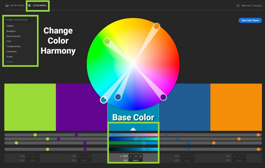 Captura de pantalla de la función Adobe CC Color Wheel