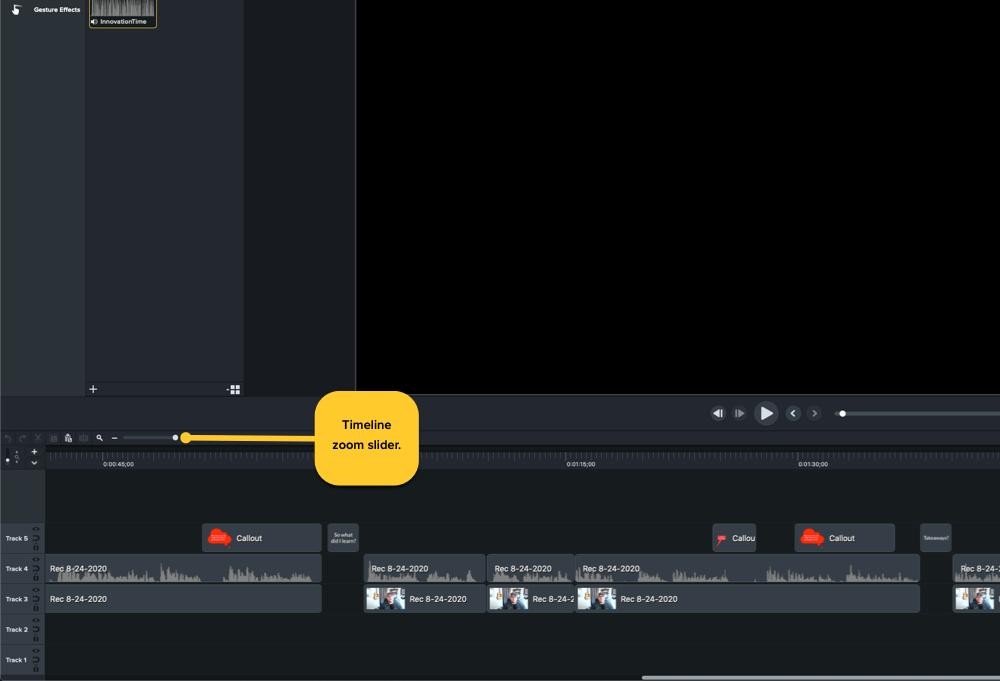 Mostrando la ubicación del control deslizante de zoom de la línea de tiempo de Camtasia en la esquina inferior izquierda de la ventana de Camtasia, justo encima de la línea de tiempo.