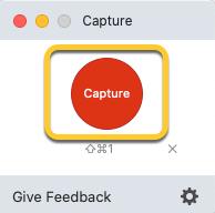 El botón Capturar en la ventana de Captura de TechSmith.