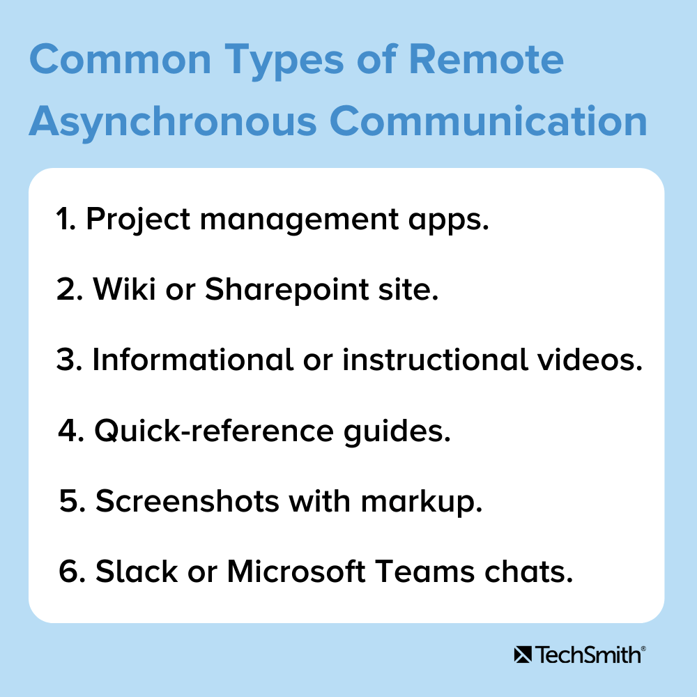 Tipos comunes de comunicación asincrónica remota 1. Aplicaciones de gestión de proyectos 2. Sitio wiki o Sharepoint 3. Videos informativos o instructivos 4. Guías de referencia rápida 5. Capturas de pantalla con marcado 6. Chats de Slack o Microsoft Teams.