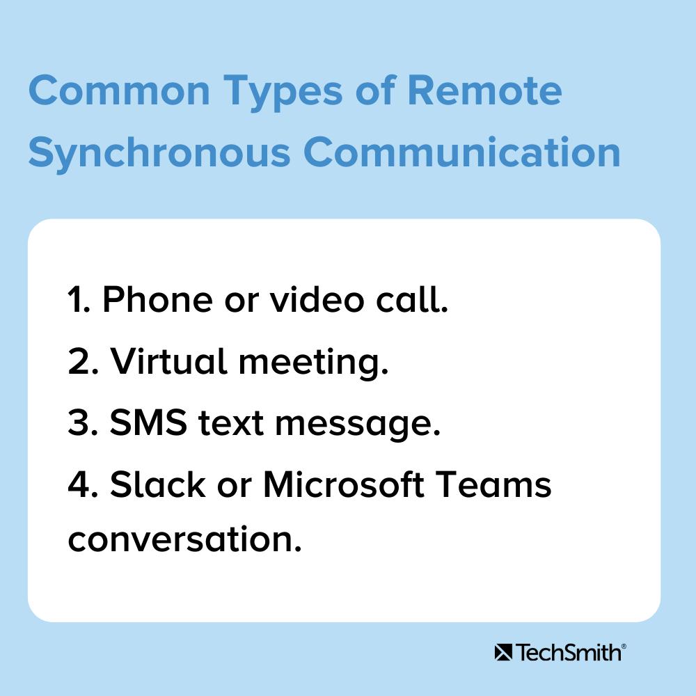 Tipos comunes de comunicación síncrona remota 1. Llamada telefónica o videollamada 2. Reunión virtual 3. Mensaje de texto SMS 4. Conversación de Slack o Microsoft Teams.