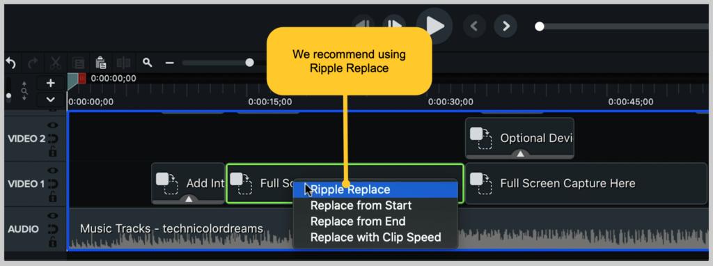 Captura de pantalla de camtasia cómo hacer un reemplazo de ondulación de video de demostración