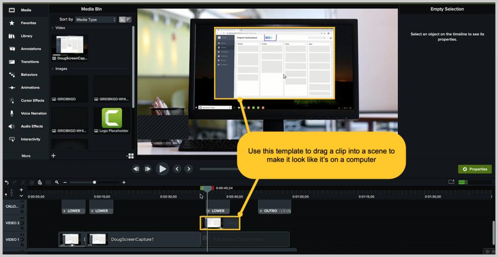 Captura de pantalla de camtasia cómo hacer un marco de dispositivo de video de demostración
