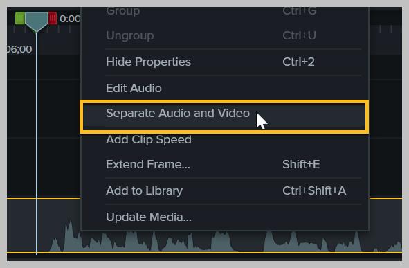 Cómo separar audio y video en Camtasia.