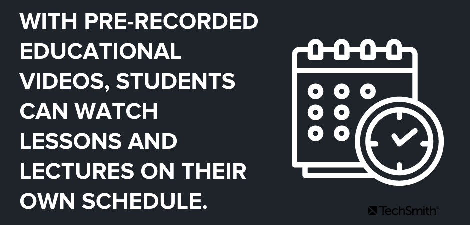 Con videos educativos pregrabados, los estudiantes pueden ver lecciones y conferencias en su propio horario.