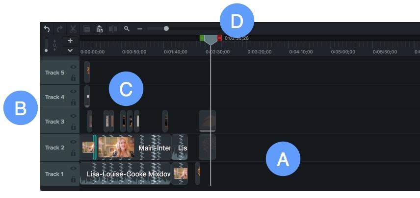 Componentes de la línea de tiempo de edición de video