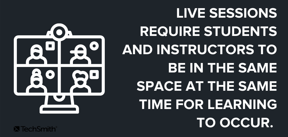 Las sesiones en vivo requieren que los estudiantes y los instructores estén en el mismo espacio al mismo tiempo para que ocurra el aprendizaje.