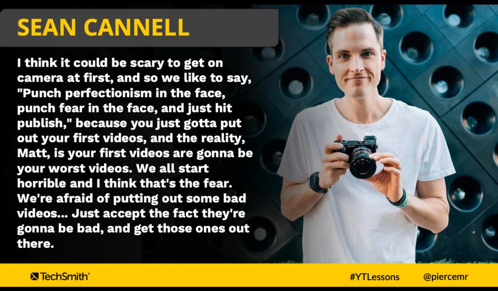 Cita de Sean Cannell sobre 'Golpear el perfeccionismo en la cara'