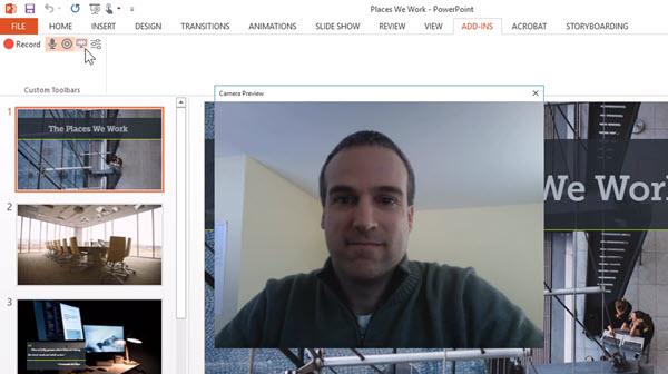 Captura de pantalla que muestra la cámara web mientras graba una presentación con la barra de herramientas del complemento de PowerPoint de Camtasia