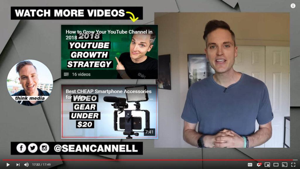 Captura de pantalla del outro de YouTube del canal de Sean Cannell.
