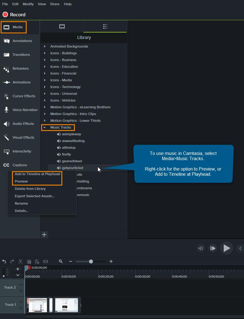 Captura de pantalla que muestra la selección de música en Camtasia