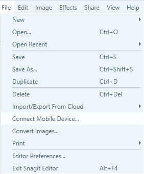 snagit-interface-show-connect-mobile-device-option