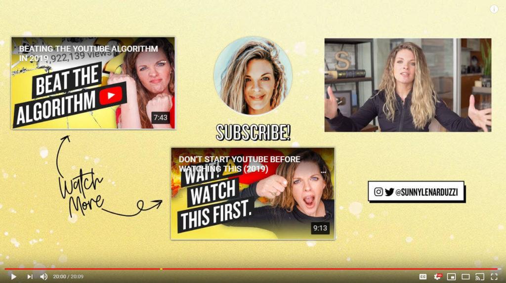 Captura de pantalla del outro de YouTube del canal de Sunny Lenarduzzi