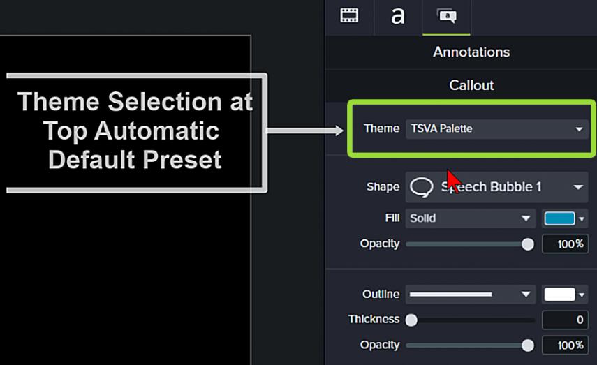 Captura de pantalla de Camtasia de la función del tema