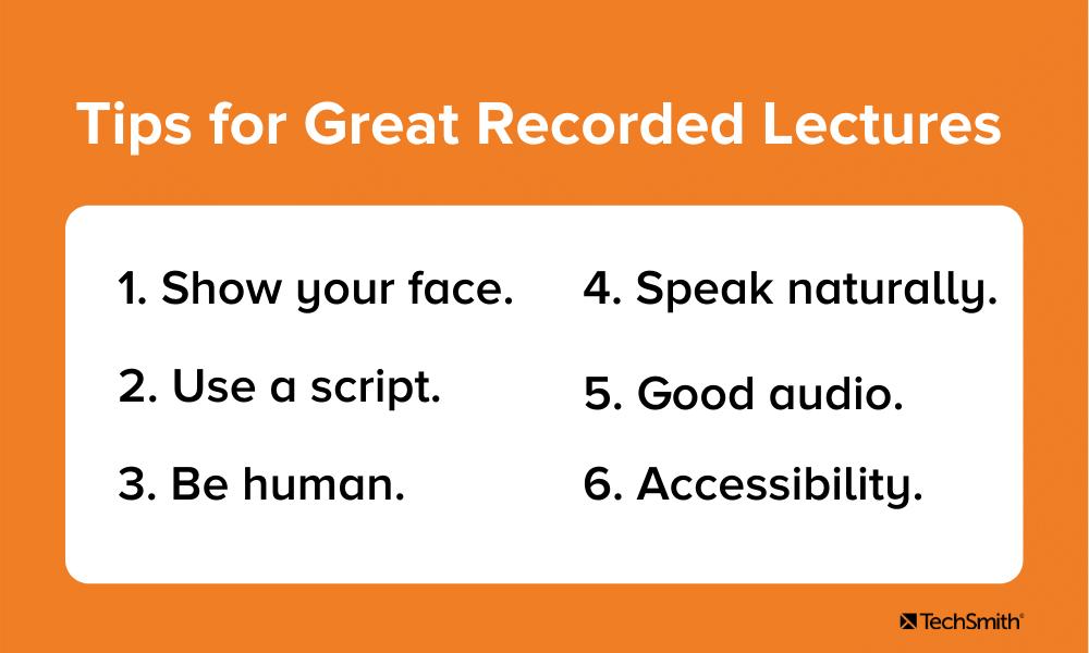 Consejos para grandes conferencias grabadas.  El texto se repite en el párrafo siguiente.