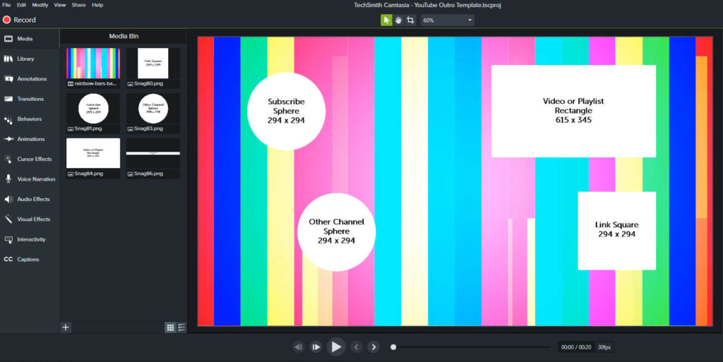 Captura de pantalla que muestra una salida en progreso en Camtasia, con plantillas de elementos superpuestas sobre un fondo en movimiento.