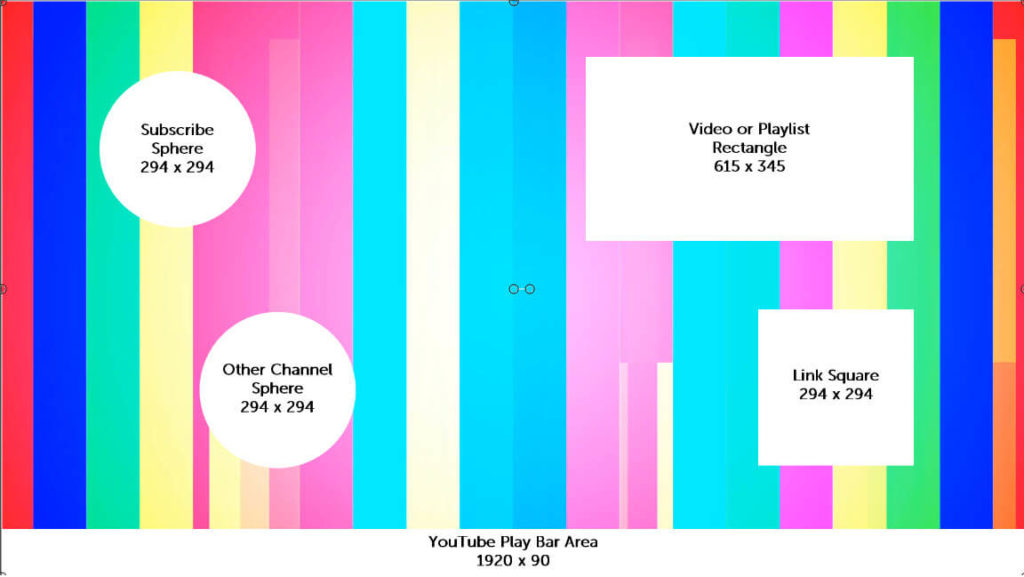 Ejemplo que muestra los tamaños de los elementos en relación con una pantalla completa de 1920 x 1080 para una pantalla final de salida de YouTube.