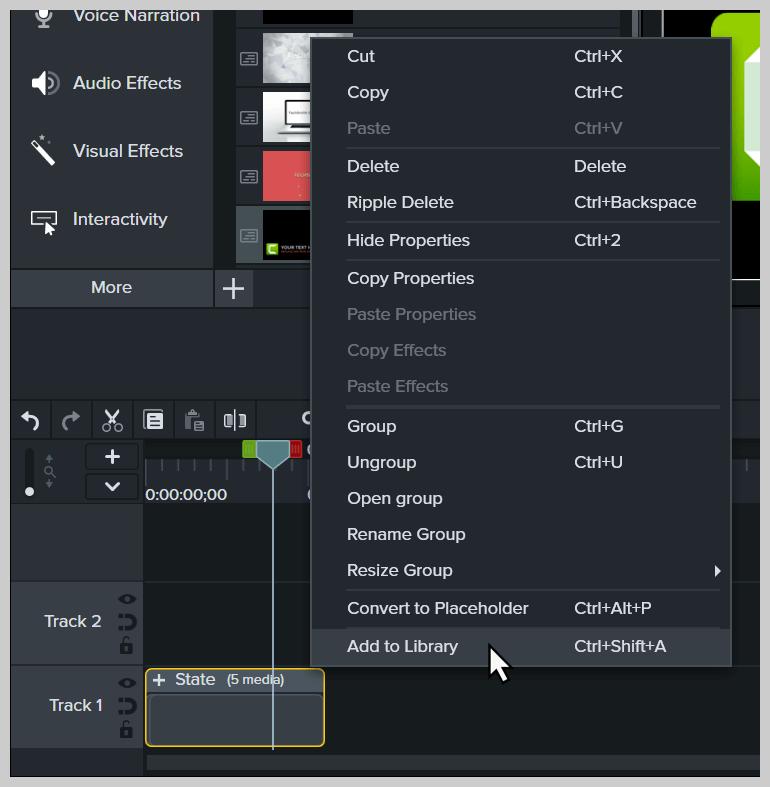 Captura de pantalla que muestra el clic derecho y elija Agregar a biblioteca.