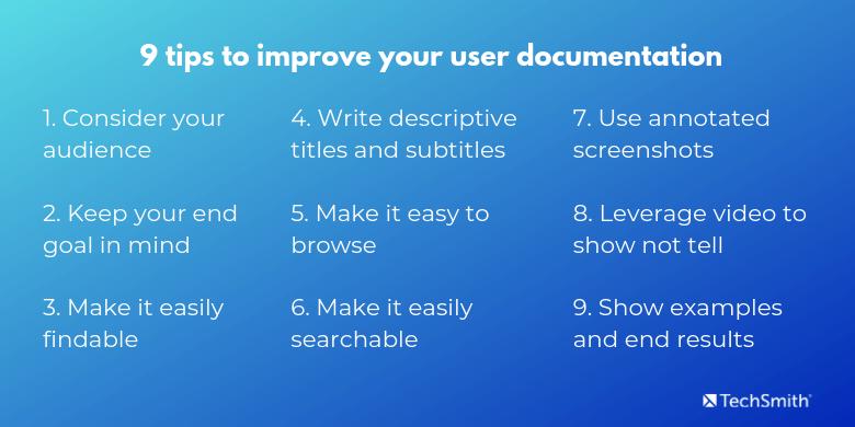 lista de consejos de documentación de usuario impresionante
