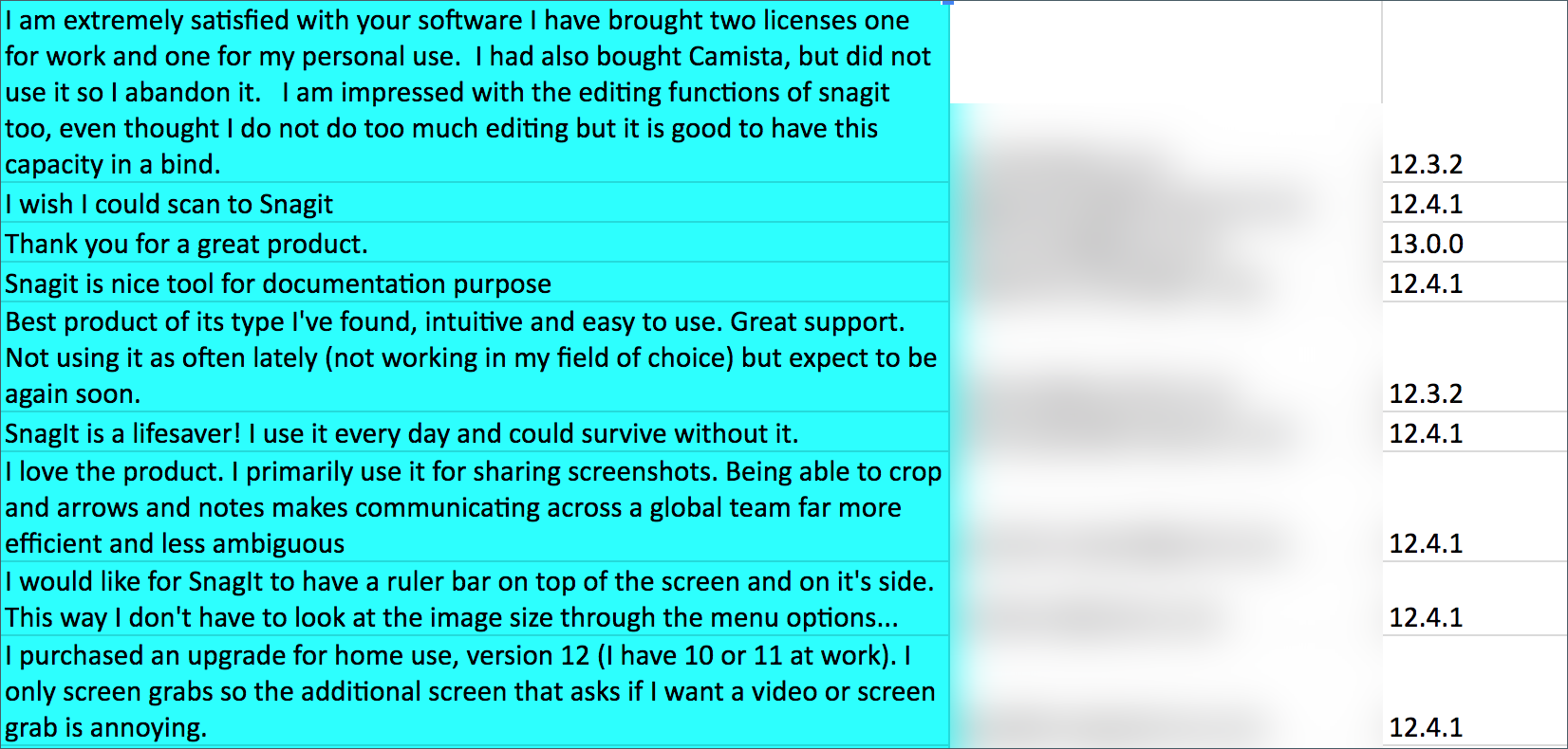 Uso de la herramienta de desenfoque de captura de pantalla de Snagit para tomar capturas de pantalla de los comentarios de los usuarios