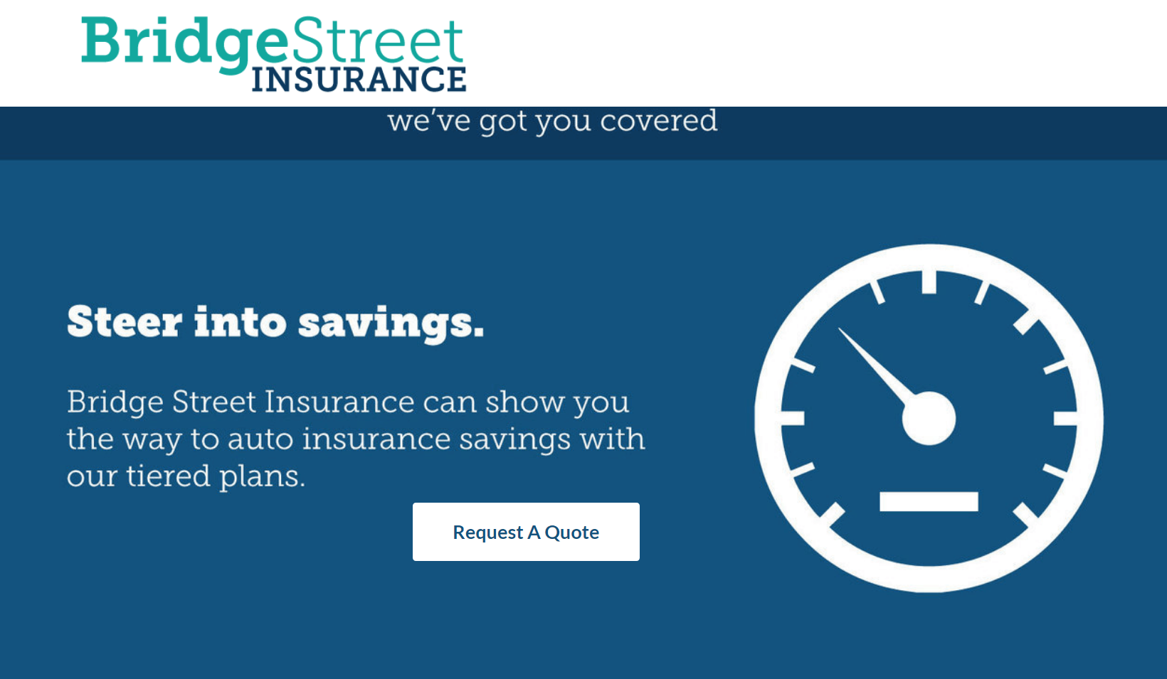 Captura de pantalla de una página web de Bridge Street Insurance con un botón de llamada a la acción Solicitar una cotización