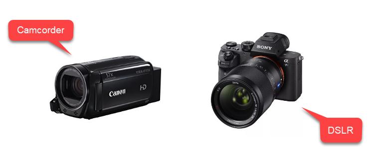 videocámara y DSLR para estudio de grabación de bricolaje