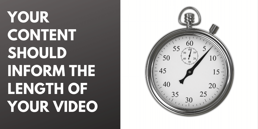 """Imagen de un cronómetro con la leyenda, """"Su contenido debe informar la duración de su video."""""""