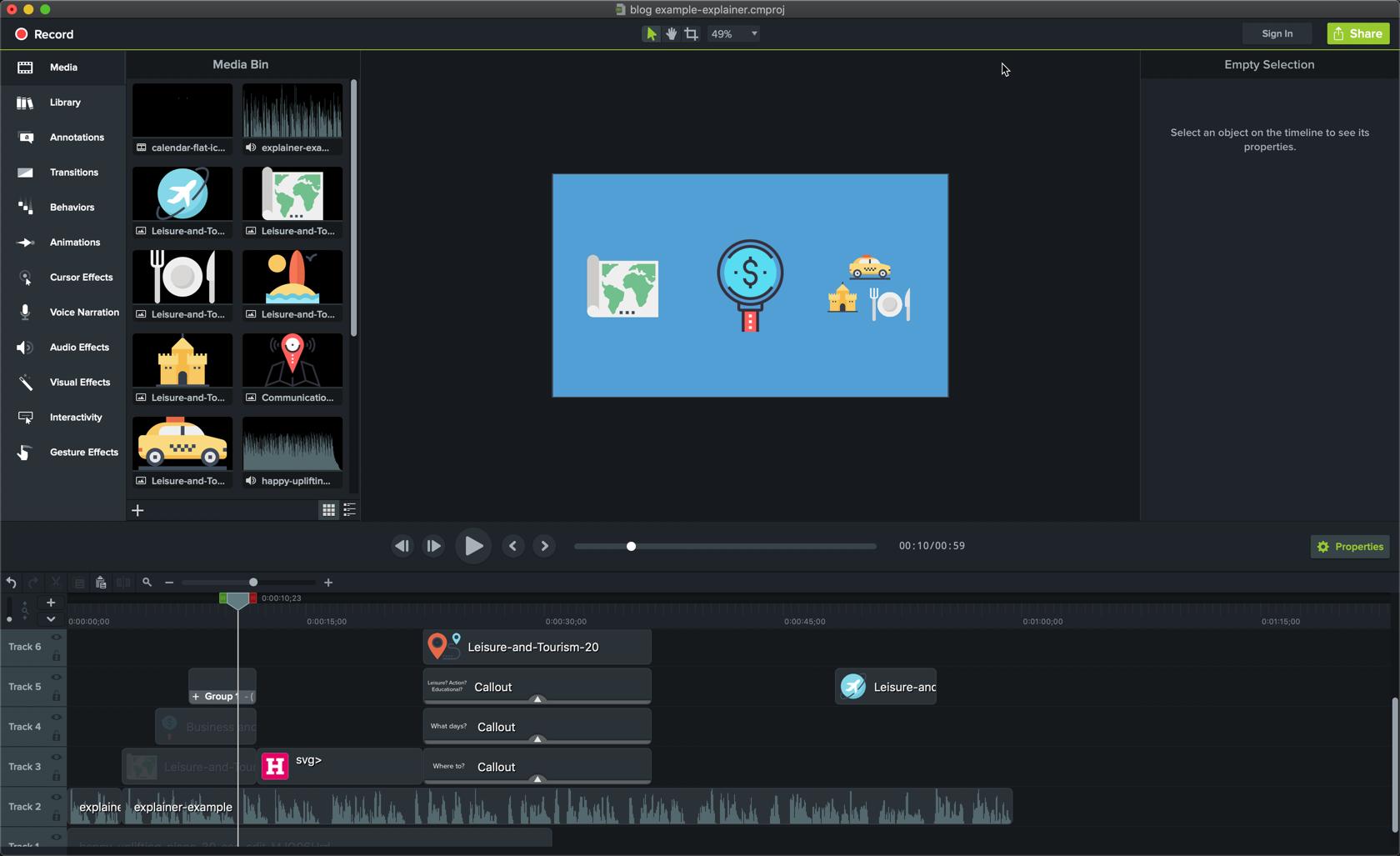 medios de edición para un video explicativo animado en Camtasia