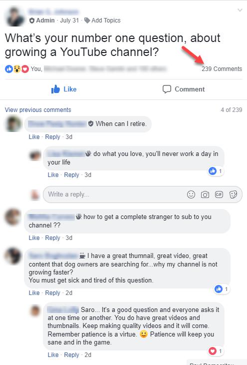 captura de pantalla de la sección de comentarios de un grupo de Facebook