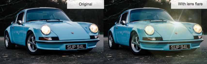 dos imágenes contrastantes de automóviles que muestran una imagen original y una con un efecto de lente aplicado
