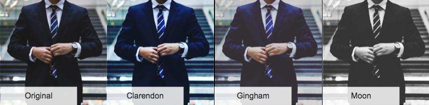 Los mosaicos de imágenes muestran la diferencia de cuatro filtros aplicados a una imagen.