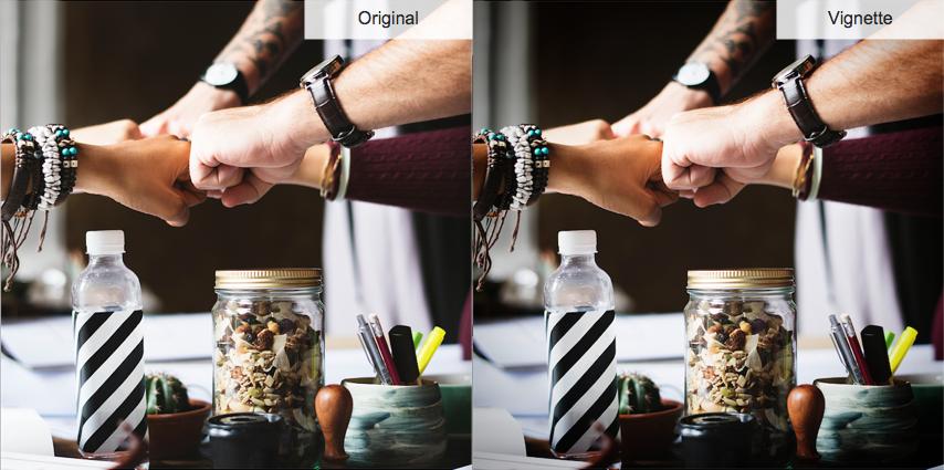dos imágenes similares muestran cómo el efecto de viñeta es similar al original con bordes más oscuros.
