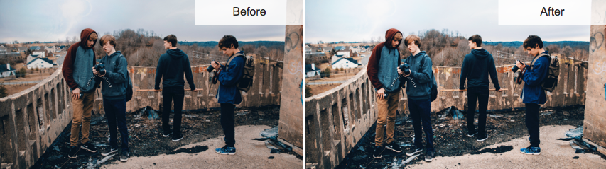 La imagen muestra el efecto de brillo y contraste en una foto oscura y sombría.
