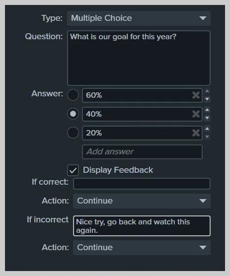 Puede enviar a un estudiante a un punto en un video si responde incorrectamente a las preguntas del cuestionario