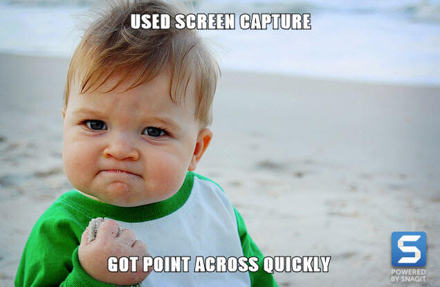 Meme hecho con Snagit, el bebé exitoso usó la captura de pantalla, se puso de manifiesto rápidamente