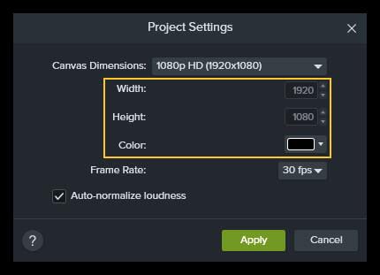 Captura de pantalla que muestra las opciones de ancho, alto y color en la configuración del proyecto en Camtasia.