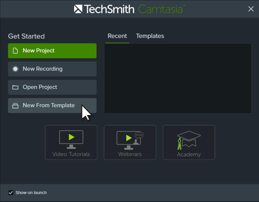 Ventana de bienvenida de Camtasia con el cursor en la opción Nueva desde plantilla