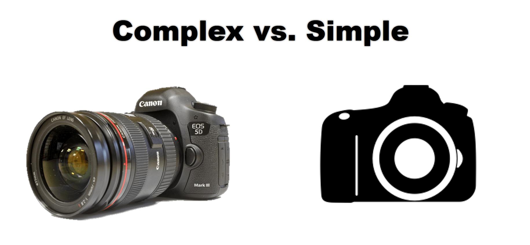 imagen de una cámara real junto a un icono de cámara que ilustra lo complejo frente a lo simple