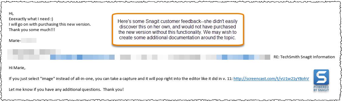 Captura de pantalla del correo electrónico que muestra los comentarios de los clientes