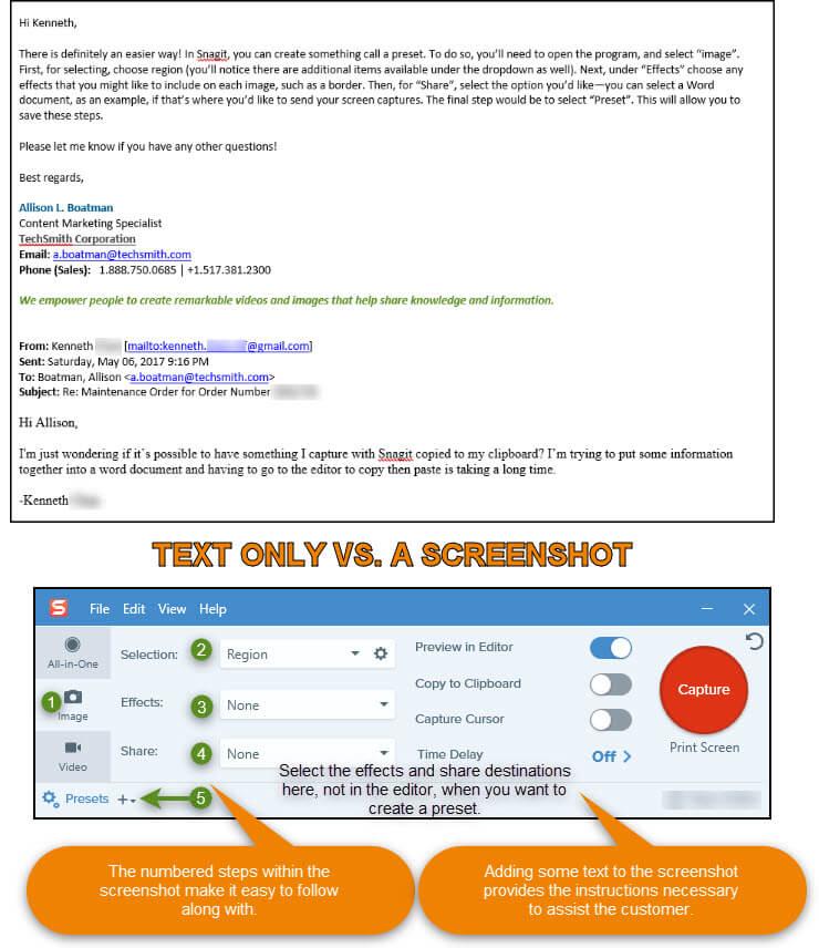 captura de pantalla que muestra instrucciones por correo electrónico junto a las instrucciones usando una captura de pantalla con texto agregado y pasos numerados