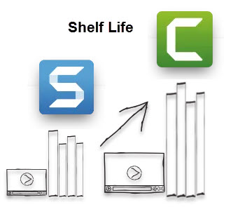 Ilustración que muestra el logotipo de Snagit con videos de vida útil más corta frente al logotipo de Camtasia con videos de vida útil más larga