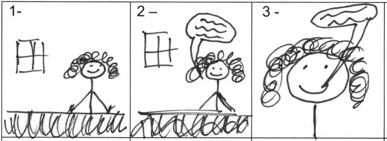 Ejemplo de guión gráfico.  El primer cuadro muestra a una mujer sentada detrás de un escritorio.  El segundo cuadro la muestra detrás del escritorio y hablando.  El tercer cuadro la muestra en primer plano y hablando.