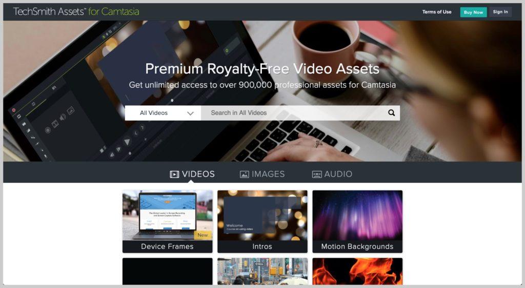 captura de pantalla del sitio web TechSmith Assets for Camtasia