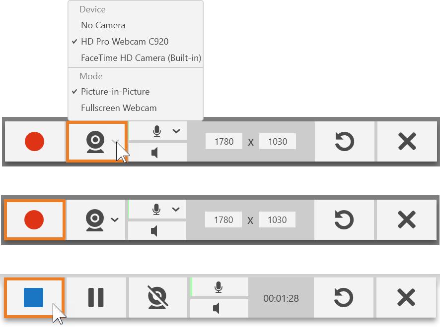 Barras de herramientas de captura de TechSmith