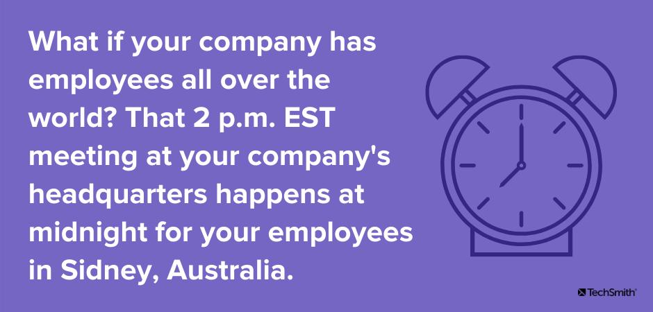 ¿Qué pasa si su empresa tiene empleados en todo el mundo?  Esa reunión de las 2 pm EST en la sede de su empresa ocurre a la medianoche para sus empleados en Sidney, Australia.