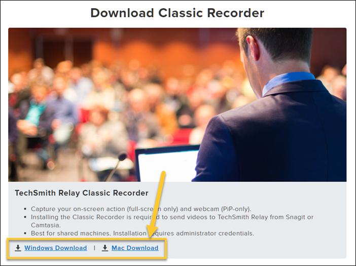Opciones de descarga de Classic Recorder