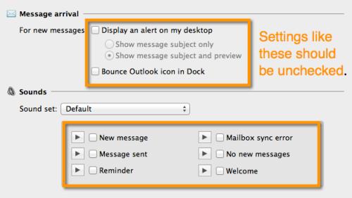 Desactivar las notificaciones de escritorio