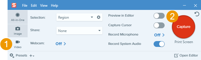 snagit todo en una captura de pantalla de la interfaz de captura